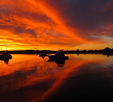 orange shapes in the sky by Anne Scantlebury