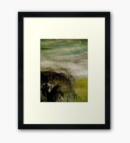 mist over the bluff Framed Print