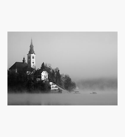 Misty Lake Bled in Black and White Photographic Print