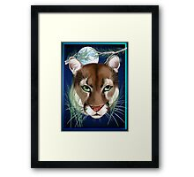Midnight Mountain Lion Framed Print