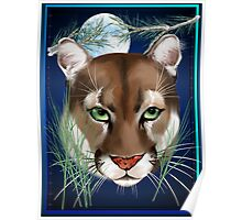 Midnight Mountain Lion Poster