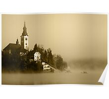 Misty Lake Bled in Sepia Poster