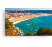 Nazaré beach. where the biggest waves on earth happen. Canvas Print
