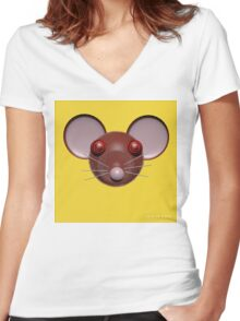 Psychedelic Yellow Mouse Head  Women's Fitted V-Neck T-Shirt