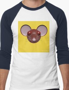 Psychedelic Yellow Mouse Head  Men's Baseball ¾ T-Shirt