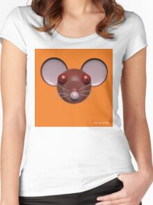 Psychedelic Orange Mouse Head  Women's Fitted Scoop T-Shirt