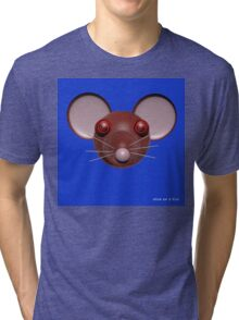 Psychedelic Blue Mouse Head  Tri-blend T-Shirt