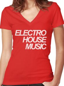 ELECTRO HOUSE MUSIC Women's Fitted V-Neck T-Shirt