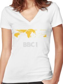 Retro BBC1 world globe ident Women's Fitted V-Neck T-Shirt