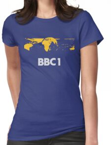 Retro BBC1 world globe ident Womens Fitted T-Shirt