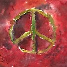 Peace Sign Red BG by Sean Seal