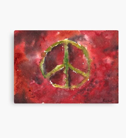 Peace Sign Red BG Canvas Print