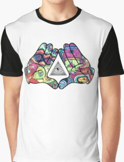 Trippy Illuminati Hands Diamond Graphic T-Shirt