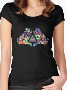 Trippy Illuminati Hands Diamond Women's Fitted Scoop T-Shirt