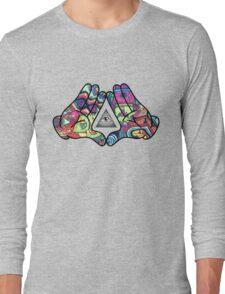 Trippy Illuminati Hands Diamond Long Sleeve T-Shirt