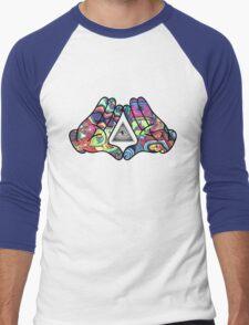 Trippy Illuminati Hands Diamond Men's Baseball ¾ T-Shirt
