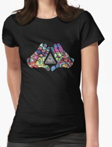 Trippy Illuminati Hands Diamond Womens Fitted T-Shirt