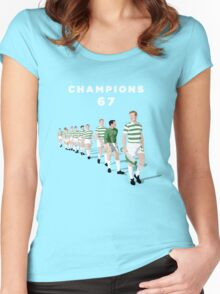 Lisbon Lions - Champions 67 (White text) Women's Fitted Scoop T-Shirt