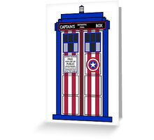 If Capt. America had a TARDIS. Greeting Card