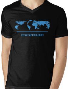 Retro BBC 1 Colour globe graphics Mens V-Neck T-Shirt