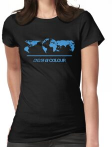 Retro BBC 1 Colour globe graphics Womens Fitted T-Shirt