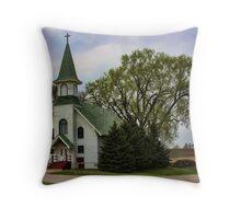 A Little White Church In Iowa Throw Pillow