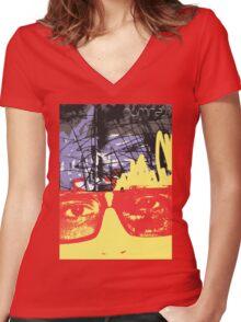 POP FACE 2 Women's Fitted V-Neck T-Shirt