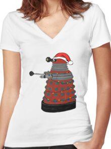 Festive Dalek. Women's Fitted V-Neck T-Shirt