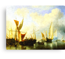A fleet of sailing ships in the harbour Canvas Print