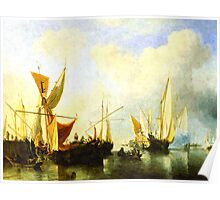 A fleet of sailing ships in the harbour Poster