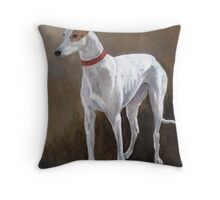 Greyhound white with brindle Throw Pillow