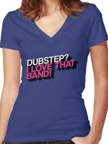 Dubstep - The True Fan (Blue/Pink) Women's Fitted V-Neck T-Shirt