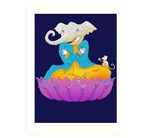 Ganesh on Lotus with Mouse Art Print