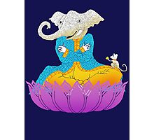 Ganesh on Lotus with Mouse Photographic Print