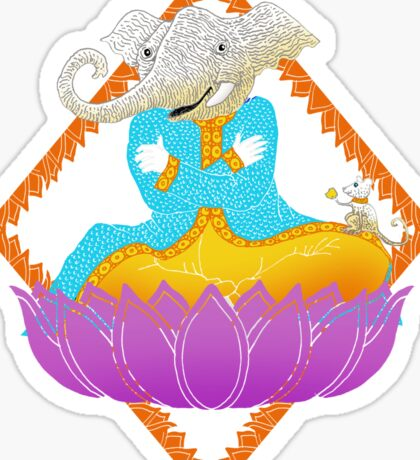 Ganesh on Lotus with Mouse Sticker