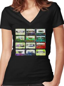 Cassettes #3 Women's Fitted V-Neck T-Shirt