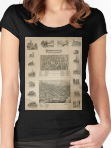 Panoramic Maps Circleville illustrated Women's Fitted Scoop T-Shirt