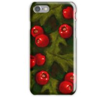 Christmas Hawthorn Berries on Green: Original Art iPhone Case/Skin