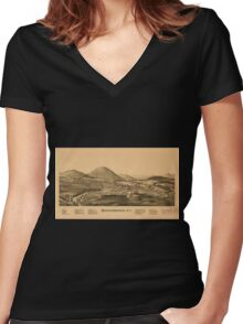 Panoramic Maps Warrensburgh NY Women's Fitted V-Neck T-Shirt