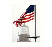 US Flag and Portland Head Light, Maine Art Print