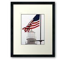 US Flag and Portland Head Light, Maine Framed Print