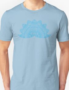 Teal lotus doodle mandala on blurred sunset with sun flare T-Shirt