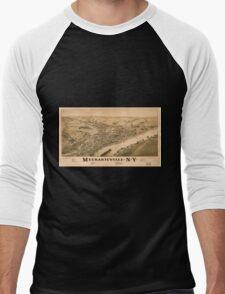 Panoramic Maps Mechanicville NY Men's Baseball ¾ T-Shirt