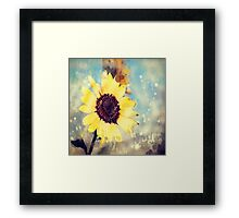 western country impressionism art watercolor sunflower Framed Print