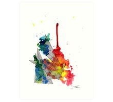 Watercolour and Fine Liner Triangles Art Print