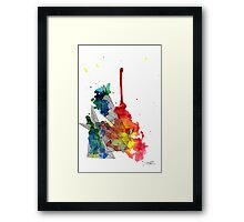 Watercolour and Fine Liner Triangles Framed Print