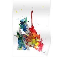 Watercolour and Fine Liner Triangles Poster