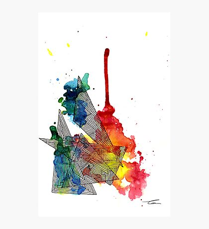 Watercolour and Fine Liner Triangles Photographic Print