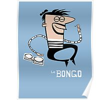 Le Bongo: Beatnik playing the bongos cartoon Poster