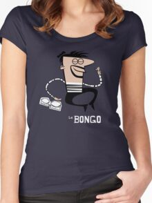 Le Bongo: Beatnik playing the bongos cartoon Women's Fitted Scoop T-Shirt